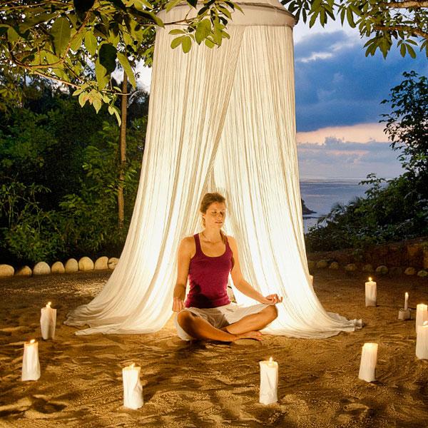 Meditation, chatting, asana