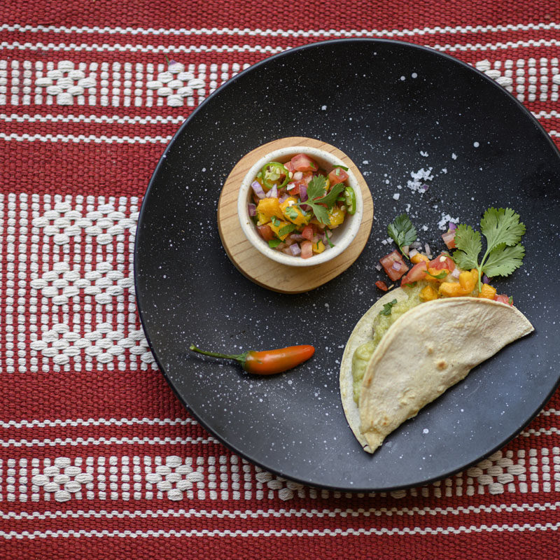 Vegan quesadillas with paparella and fresh mango salsa